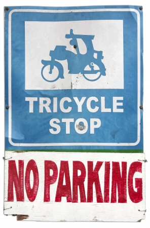tricycle: tricylce stop no parking road sign in the philippines