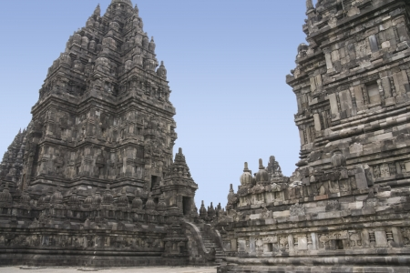 ancient stone prambanan temples in yogyakarta, java, indonesia  photo