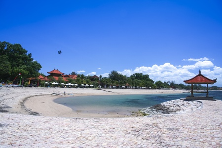 sanur: resort hotels strung along sanur beach in bali indonesia Stock Photo