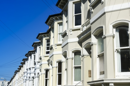 traditional style street of terraced houses hove, brighton west sussex england photo