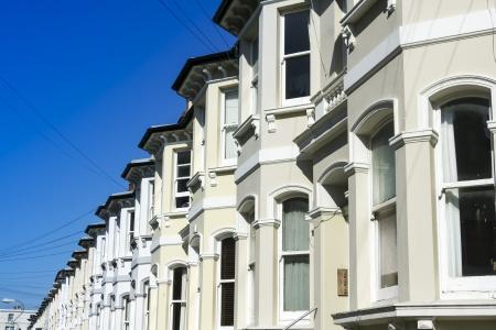 rij huizen: traditionele stijl straat van rijtjeshuizen hove, Brighton West Sussex Engeland