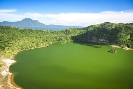 crater lake: active taal volcano inside bigger crater lake near tagaytay in the philippines