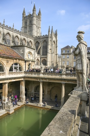 thermal spring: BATH, ENGLAND - APRIL 10: Tourists at the Roman Bath Museum on April 10, 2010 in Bath. The Baths are a major tourist attraction and receive more than one million visitors a year.