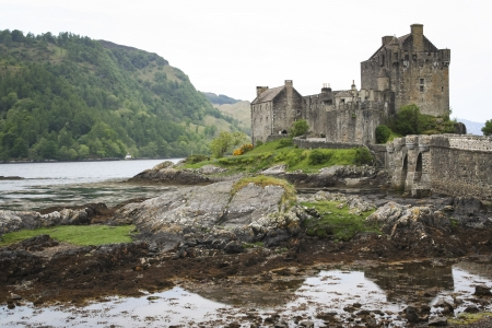 loch: panorama of eilean donan castle dating from the 13th century, built on a small island in Loch Duich in the highlands of scotland and connected to the mainland by a stone bridge