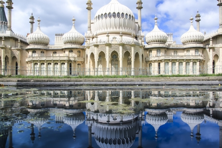 mogul: onion domes, towers and minarets forming the roof of the royal pavilion palace in brighton england, King George IVs summer house and Regency folly