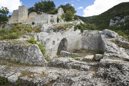 lourmarin: ruins of the buoux fort Citadelle du Luberon  in the Vaucluse department in the Provence-Alpes-Côte dAzur Stock Photo