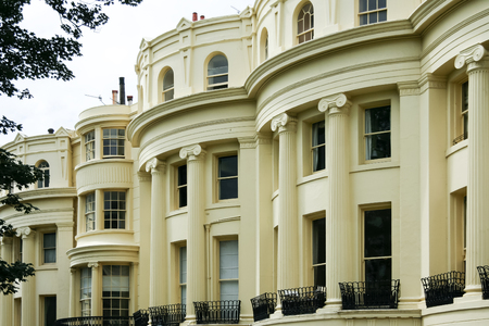 sussex: grand facade of regency period houses in brighton east sussex uk Stock Photo