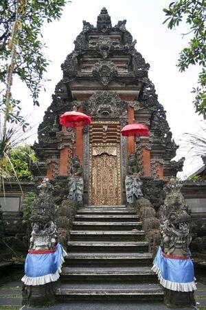 saraswati: ornate gate of the Saraswati hindu temple ubud bali indonesia