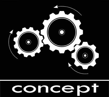 machinery: cogwheel sketch about think and concept