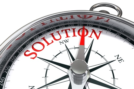 problem solution: the way to the solution conceptual image compass showing the direction where you can find the solution