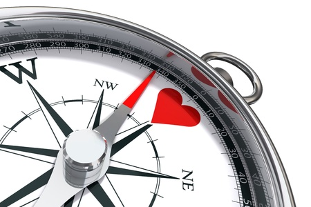 heart 3d: how to find love conceptual image with compass and red heart Stock Photo