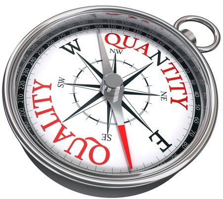quality time: quality versus quantity conceptual image with compass two different ways isolated on white background