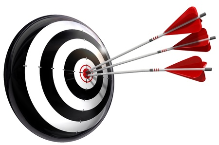 target and three arrows conceptual image isolated on white background Stock Photo - 10906196