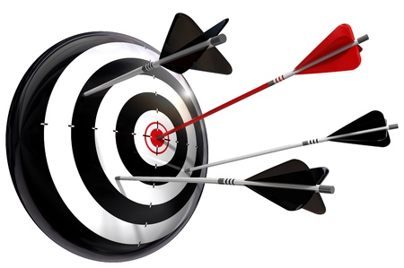 target with one red arrow in the middle and three blacks that missed Stock Photo - 10906197