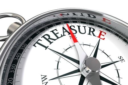schatkaart: Ontdek de schat conceptueel beeld met kompas en woordenschat Stockfoto