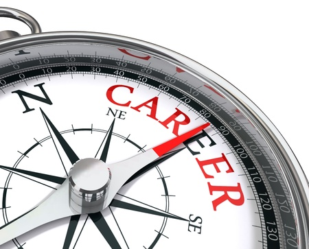 careers: career the way indicated by compass conceptual image