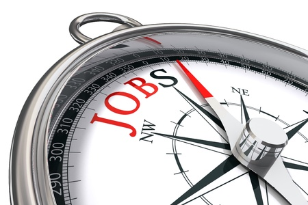 job advertisement: jobs direction indicated by compass conceptual image Stock Photo