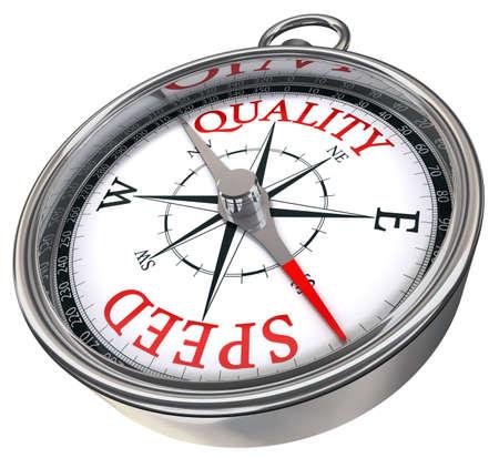 la qualité plutôt que la vitesse contrairement mots image conceptuelle sur la boussole avec lettres rouges isolé sur fond blanc
