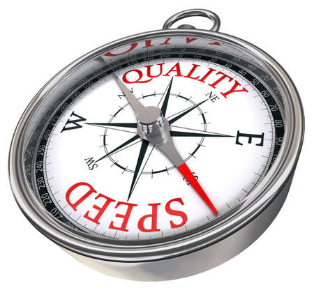 process management: quality versus speed contrary words conceptual image on compass with red letters isolated on white background