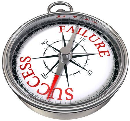 triunfador: �xito versus fracaso palabras en la br�jula, la imagen conceptual de negocios Foto de archivo