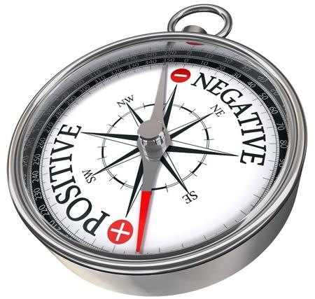 positieve negatieve woorden op kompas conceptueel beeld Stockfoto