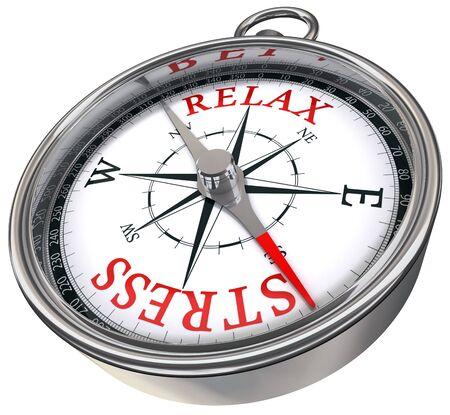 estr�s: relajar el estr�s palabras rojas en la imagen de la br�jula conceptual