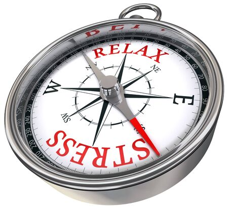 relax stress red words on compass conceptual image photo