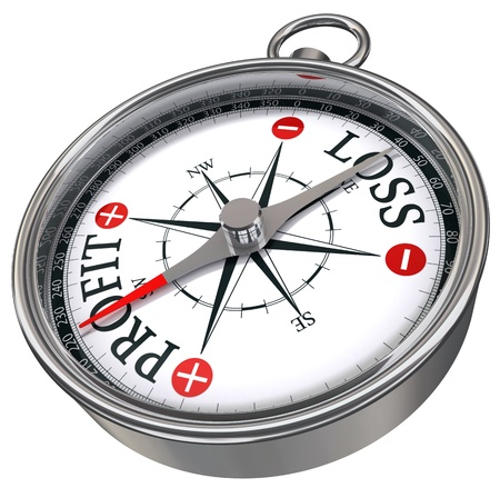 minus: profit versus loss words on compass business conceptual image with red plus and minus isolated on white background Stock Photo