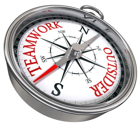 outsider: teamwork versus outsider red words on compass conceptual business image
