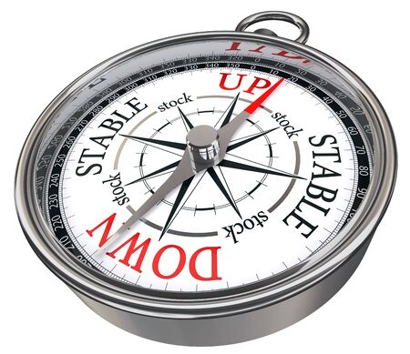 predictor: stock market predictor concept compass isolated on white background