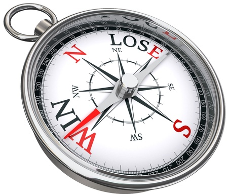 win lose concept compass with red and black words isolated on white background photo