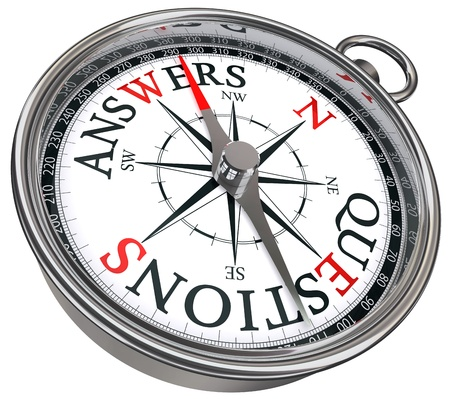 vs: answers vs questions concept compass with black red letters isolated on white background