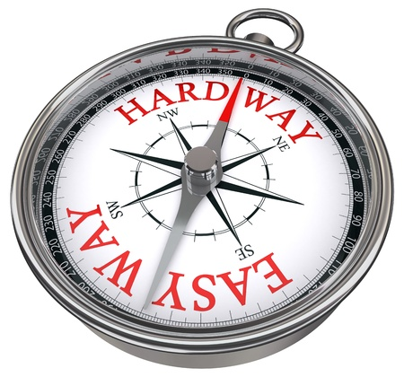 easy: easy versus hard way dilemma concept compass with red letters isolated on white background