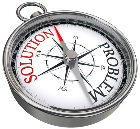 red solution vs black problem opposite ways concept compass isolated on white background Stock Photo