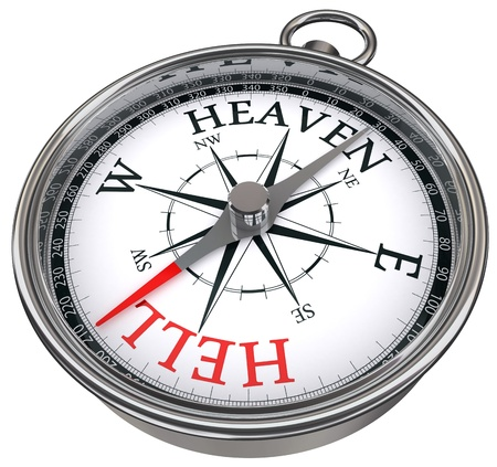 heaven and hell: leave road to hell going towards heaven way concept compass isolated on white background