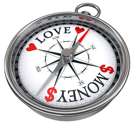 love of money: love versus money concept compass with dollar and heart isolated on white background