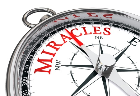 north star: way to miracles indicated by concept compass close up Stock Photo
