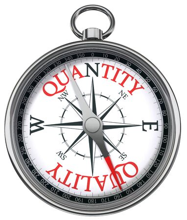 quality service: quality versus quantity conceptual image with compass two different ways isolated on white background
