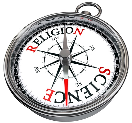 science versus religion concept compass isolated on white background
