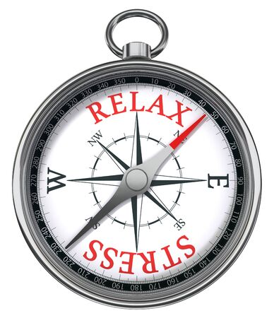 beach side: relax stress red words on compass conceptual image