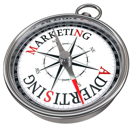 marketing versus advertising concept compass isolated on white background photo