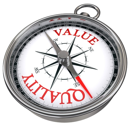 price development: quality versus value concept compass isolated on white background