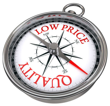 quality versus low price concept compass isolated on white background photo