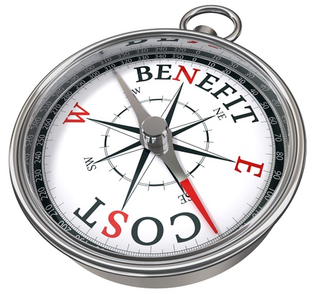 financial success: benefit cost concept compass icolated on white background