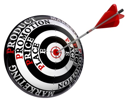 perfection: promotion price place product words on concept target and arrow isolated on white background Stock Photo