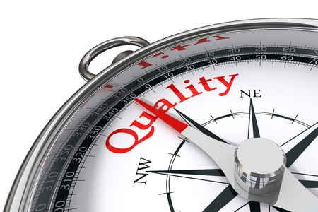 quality management: quality indicated by concept compass on white background
