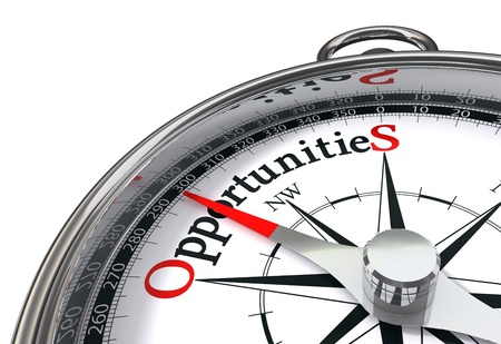 opportunities way indicated by concept compass on white background photo