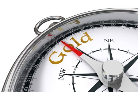 direction towards gold indicated by concept compass on white background Stock Photo - 11053378