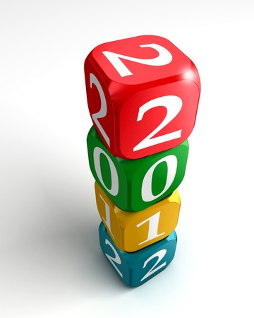 new year 2012 3d colourful dice tower on white background photo