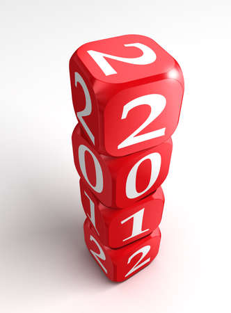 new year 2012 3d red and white dice tower on white background photo